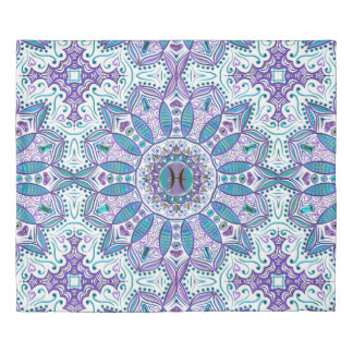 Pisces Mandala in Turquoise and Purple Duvet Cover