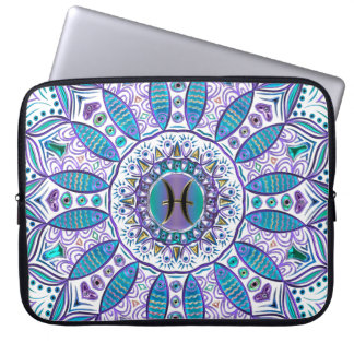 Pisces Mandala in Turquoise and Purple Laptop Sleeve