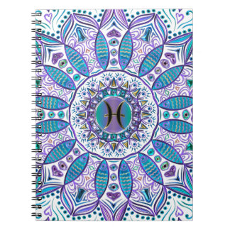 Pisces Mandala in Turquoise and Purple Notebook