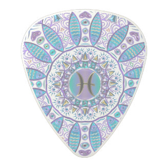 Pisces Mandala in Turquoise and Purple Polycarbonate Guitar Pick