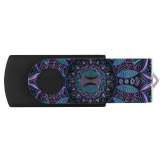 Pisces Mandala in Turquoise and Purple Swivel USB 2.0 Flash Drive