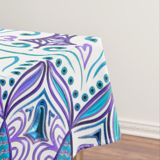Pisces Mandala in Turquoise and Purple Tablecloth
