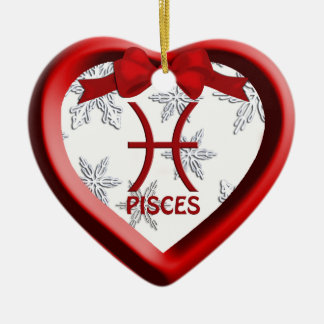 Pisces Red Heart Snowflake Christmas Ornament