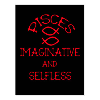 Pisces (Red Text) Postcard