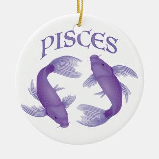 Pisces Round Ceramic Ornament