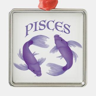 Pisces Silver-Colored Square Ornament