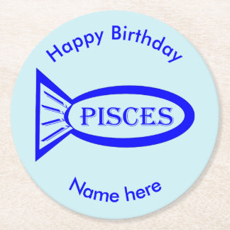 Pisces Star Sign Fish Paper Coasters