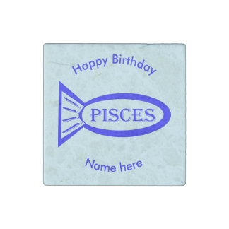 Pisces Star Sign Fish Stone Magnet
