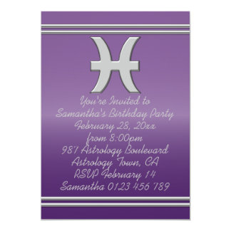 Pisces Symbol in Chrome on Amethyst Birthday Party Card
