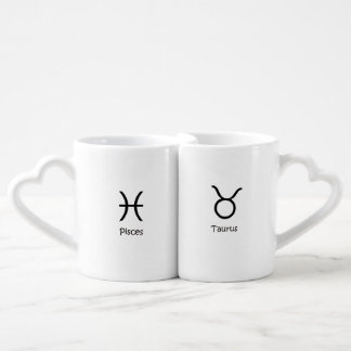 Pisces the fish and Taurus Bull Zodiacs Astrology Coffee Mug Set