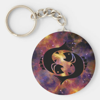 Pisces The Fish Basic Round Button Keychain