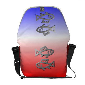 Pisces The Fish Silver Star Sign On Messenger Messenger Bag