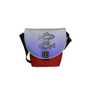 Pisces The Fish Silver Star Sign On Mini Messenger Commuter Bags