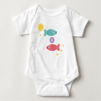 Pisces two fish baby bodysuit zodiac star sign