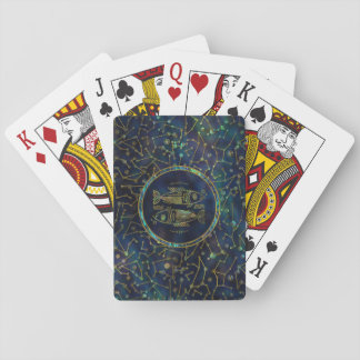 Pisces Zodiac Gold Abalone on Constellation Playing Cards