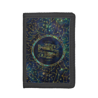 Pisces Zodiac Gold Abalone on Constellation Tri-fold Wallet