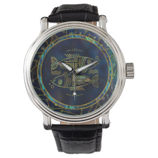 Pisces Zodiac Gold Abalone on Constellation Watch