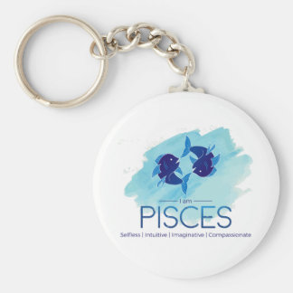Pisces zodiac sign basic round button keychain