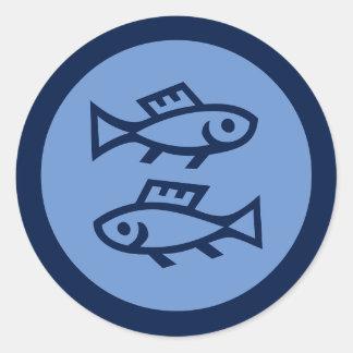 Pisces Zodiac Sign Blue Round Sticker