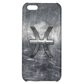 Pisces Zodiac Sign in Grunge Silver Steel Style iPhone 5C Cover