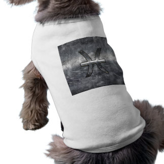 Pisces Zodiac Sign in grunge steel style decor Dog T-shirt