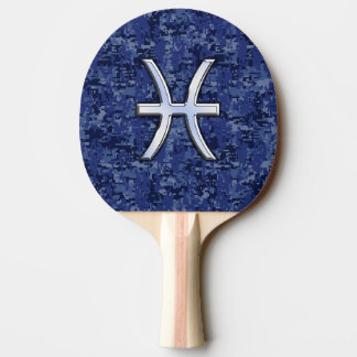 Pisces Zodiac Sign on Navy Blue Digital Camouflage Ping Pong Paddle