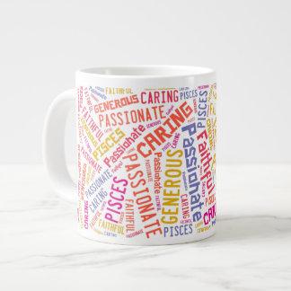 Pisces Zodiac Sign Traits Text Pattern Large Coffee Mug