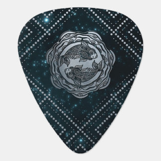 Pisces Zodiac Silver Embossed on the Star sky Guitar Pick