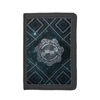 Pisces Zodiac Silver Embossed on the Star sky Trifold Wallet