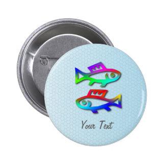 Pisces Zodiac Star Sign Rainbow Fish Badge Pinback Button