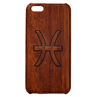Pisces Zodiac Symbol Brown Mahogany wood style Case For iPhone 5C