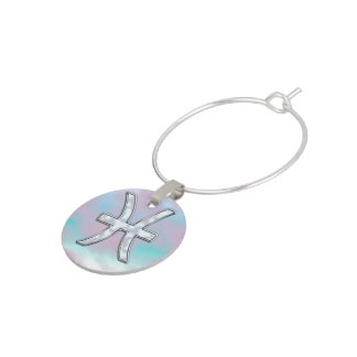 Pisces Zodiac Symbol Mother of Pearl Decor Wine Charms