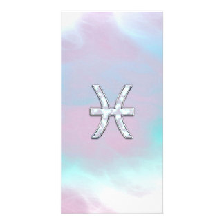 Pisces Zodiac Symbol Mother of Pearl style Photo Greeting Card