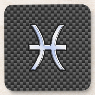 Pisces Zodiac Symbol on Carbon Fiber Style Drink Coasters