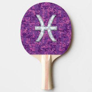Pisces Zodiac Symbol on Fuchsia Digital Camo Ping Pong Paddle