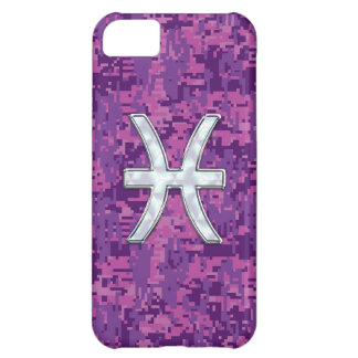 Pisces Zodiac Symbol on Pink Digital Camouflage Case For iPhone 5C