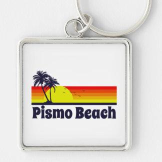 Pismo Beach Silver-Colored Square Keychain