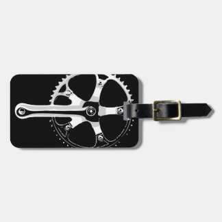 Pista Bicycle Crankset - white on black Luggage Tag
