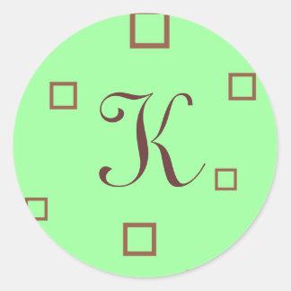 Pistachio Brown Inittial K Classic Round Sticker
