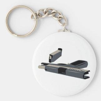 Pistol Basic Round Button Keychain