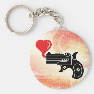 Pistol Blowing Bubbles of Love Basic Round Button Keychain
