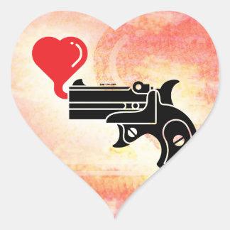 Pistol Blowing Bubbles of Love Heart Sticker