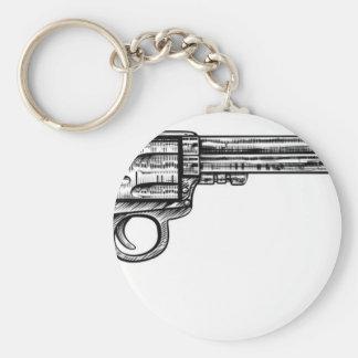 Pistol Gun Vintage Retro Woodcut Style Basic Round Button Keychain