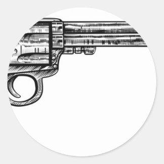 Pistol Gun Vintage Retro Woodcut Style Round Sticker