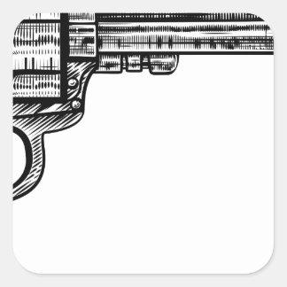 Pistol Gun Vintage Retro Woodcut Style Square Sticker