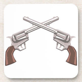 Pistol Handgun Drawing Isolated On White Backgroun Coaster