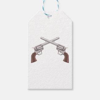Pistol Handgun Drawing Isolated On White Backgroun Gift Tags