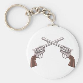 Pistol Handgun Drawing Isolated On White Backgroun Keychain