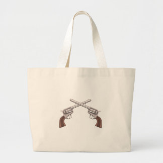 Pistol Handgun Drawing Isolated On White Backgroun Large Tote Bag