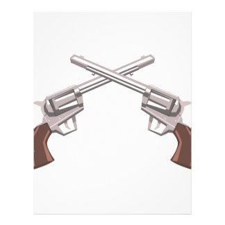 Pistol Handgun Drawing Isolated On White Backgroun Letterhead